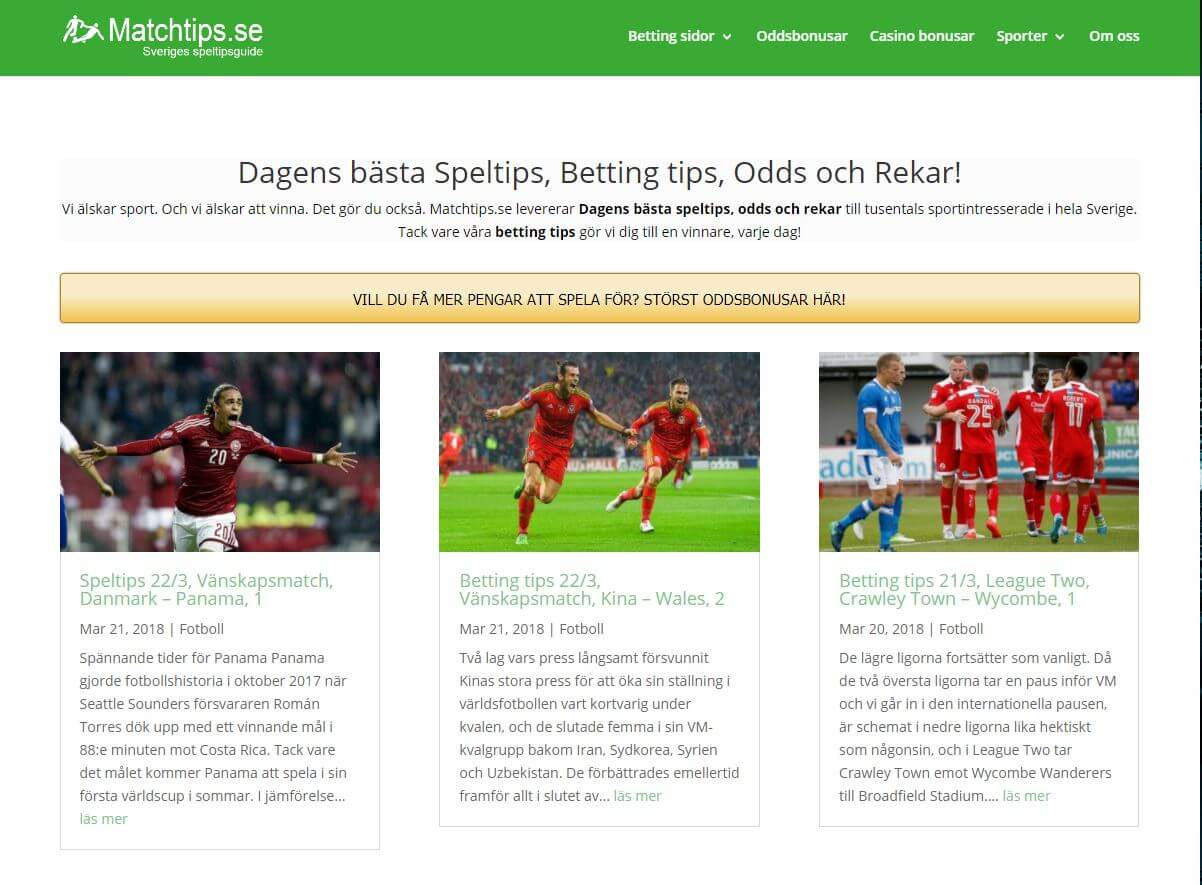 Swedish betting tips site Matchtips se making waves home and